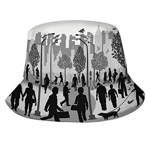 DJNGN Arquitectura del Plan de la casa, Sombrero Unisex de Verano, Sombrero para el Sol, Sombrero Plegable para Vacaciones, Accesorios Divertidos, documento del Plan