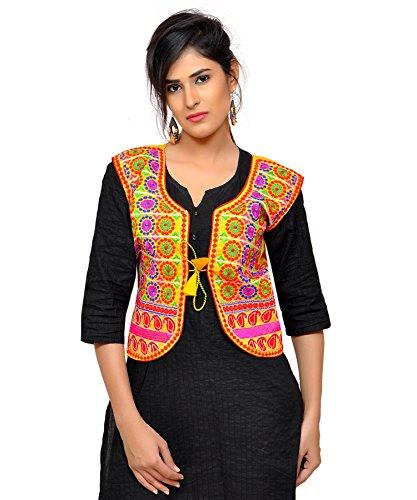 Banjara India Women's Dupion Silk Embroidered Kutchi Waist Length Jacket/Koti...