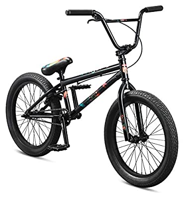 Mongoose Legion L40 Freestyle BMX Bike for Beginner-Level to Advanced Riders, Steel Frame, 20-Inch Wheels, Black/Multicolored