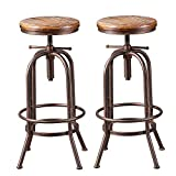 BOKKOLIK Set of 2 Industrial Bar Stool-Retro 26-32.3inch Swivel Stools-Extra Tall Kitchen Chair-Bar Counter Height Adjustable-Fully Welded (Copper 2PCS)