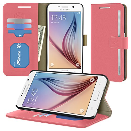 S6 Case, Samsung Galaxy S6 Wallet Case, ROOCASE Prestige Premium Synthetic Leather Wallet Case Flip Cover [Stand Feature] with Credit Card ID Holder for Samsung Galaxy S6 (2015), Pink