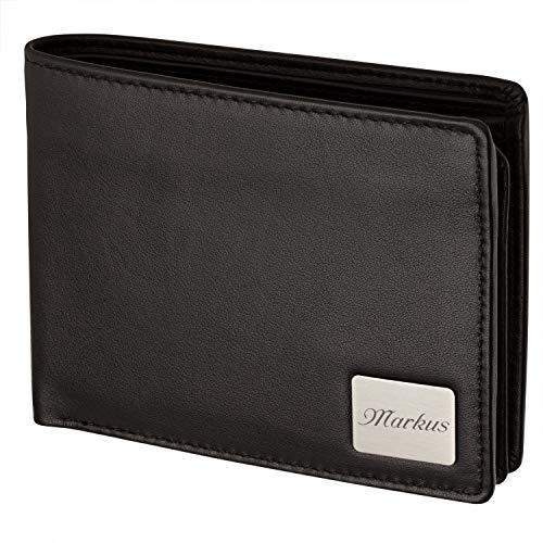Cadenis Herren Geldbörse mit persönlicher Laser-Gravur aus Rindsleder schwarz Quer 12,0 x 9,5 cm Portemonnaie Basic