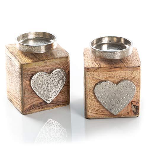 Logbuch-Verlag 2 portacandele in legno + metallo con cuore – portacandele vintage come decorazione da appoggiare – regalo per la festa della mamma