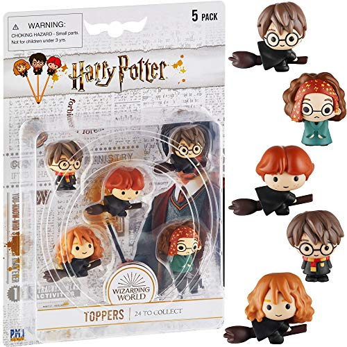 Harry Potter Pencil Toppers, Gifts, Toys, Collectibles – Set of 5 Harry Potter Figures for Writing, Party Decor – Hermione Granger, Harry Potter, Ron Weasley & More by PMI, 2.4 in., Soft PVC
