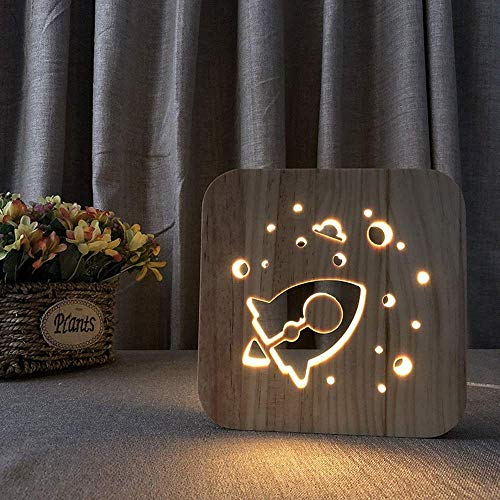 WRISCG Lámpara Escritorio Creativo 3D Hueco de Dibujos Animados Cohete lámpara de Mesa Decorativa de Madera USB LED luz de Noche Dormitorio casa de ni?os Cumplea 19 * 19 cm Escritorio