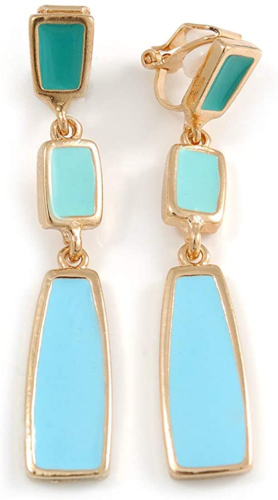 Aqua Blue/Teal Enamel Geometric Clip-On Earrings In Gold Tone Metal - 50mm Long
