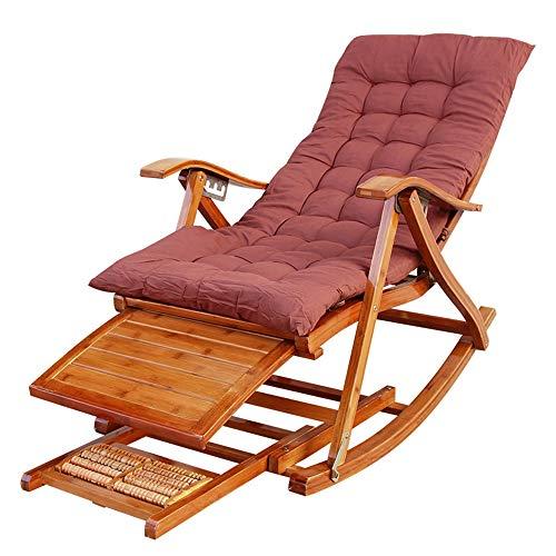 ZR- Bois Fauteuil À Bascule Réglable Bamboo Lounge Chaise Pliante Balcon Jardin Transats Chaise Dossier, Coussin Amovible (Color : Chair+Cushion)