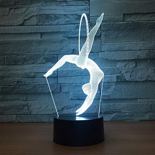Eurhythmics 3D-lamp 16 kleuren LED-nachtlamp USB-tafellamp Nachtkastje Vrijstaand Artistiek Gymnastiek Sfeerverlichting