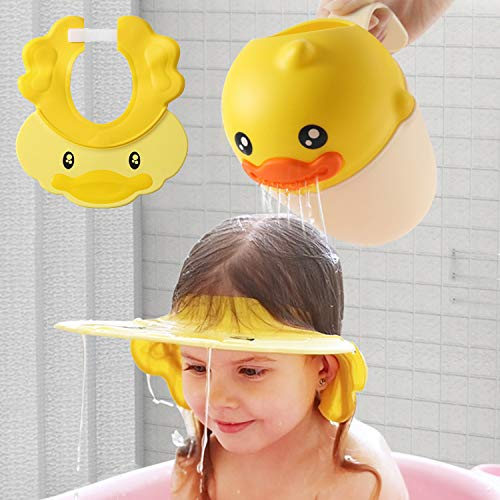 Hair Washing Hat Shower Bath Silicone Cap Soft Adjustable Visor Head Protector Shampoo Cap for Toddler, Baby, Kids, Children (Yellow)