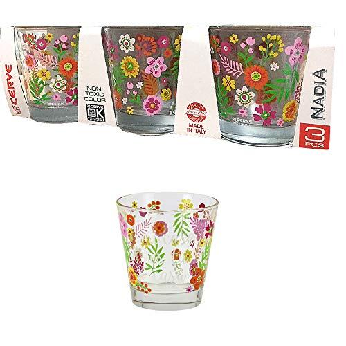 Cerve Nadia Confezione di 3 Bicchieri Acqua Bevanda Cocktail 25 cl Made in Italy Linea Nadia Mi casa
