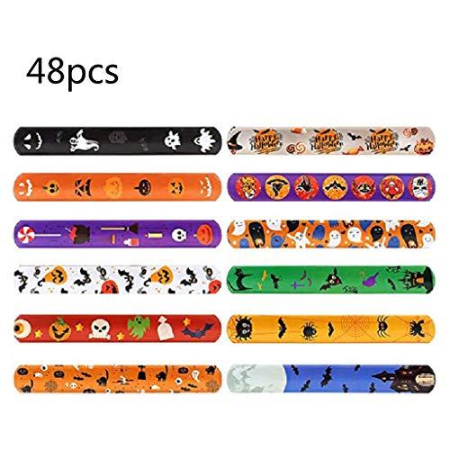Green & Rare - 48 pulseras para fiestas de Halloween con diseño colorido de impresión, bandas de palmada retro para niños, adultos, regalos de cumpleaños