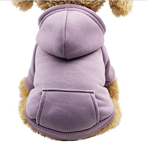 Pet Fleece Dog Hoodies, Basic Hoodie Sweater Cotton Jacket Sweatshirt Coat with Pocket for Small Medium Dog Cat (Purple, XS)