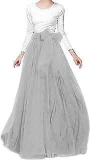 songshenjian Women Tulle Skirt Bridal Bridesmaids Maxi Skirt with Belt for Wedding Evening