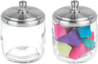 mDesign Bathroom Vanity Glass Storage Organizer Canister Apothecary Jar for Cotton Swabs, Rounds, Balls, Makeup Sponges, Blenders, Bath Salts - 2 Pack, Clear/Brushed