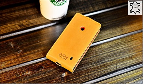 Urcover Akira Hand Made [Echt Leder] Handyhülle kompatibel mit Nokia Lumia 520/525 Cover Handgemacht Hülle Schutzhülle Etui Flip Wallet Pen Hell Braun