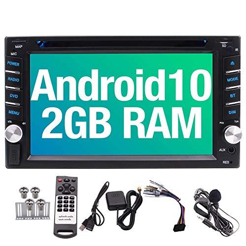 Android 10.0 Doble DIN 6.2 Pulgadas Unidad Principal estéreo Coches Reproductor de DVD Quad Core 2 GB de RAM 2 DIN Pantalla táctil en el Tablero de Radio FM/Am Receptor GPS Bluetooth Wi-Fi 3G 4G
