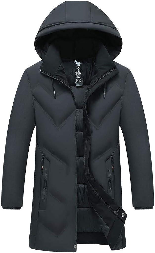 Plain Puffer Jacket Windproof Down Jacket Men NRUTUP Winter Parkas Jacket Removable Hood Insulated Warm Overcoat