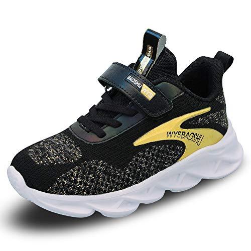 Unisex Kindermode Sneakers Ademende Hardloopschoenen voor Jongens Lichtgewicht Sneakers voor Meisjes(Zwart Goud,35EU)