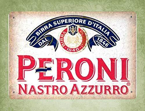 QDTrade - Cartel metálico de 16 x 12 Pulgadas - Peroni Nastro Azzurro Beer Vintage Look - Decoración de Pared para Bar, cafetería, decoración del hogar, Cocina, Impresiones artísticas