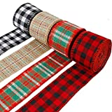 4 Rolls Christmas Wired Plaid Burlap Ribbon Wired Craft Ribbon Multi-Color Plaid Ribbon for DIY Gift Wrapping Christmas Crafts Decoration(1.97 Inch, 6.6 yards/Roll)