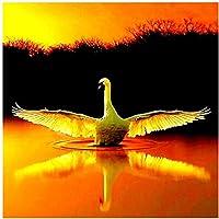 artaslf フルドリルDIYダイヤモンド絵画白鳥ダイヤモンド刺繡ラインストーン画像の湖の眺めモザイクアイコン家の装飾-40x40cmフレームなし