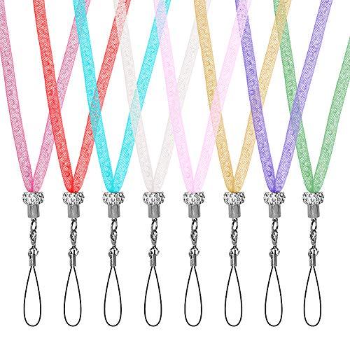 Tagaremuser 8 Stück Glitzer Lanyard Strap Kristall Halsband Bling Handy Halsketten Landhof für Ausweis, Ausweishalter