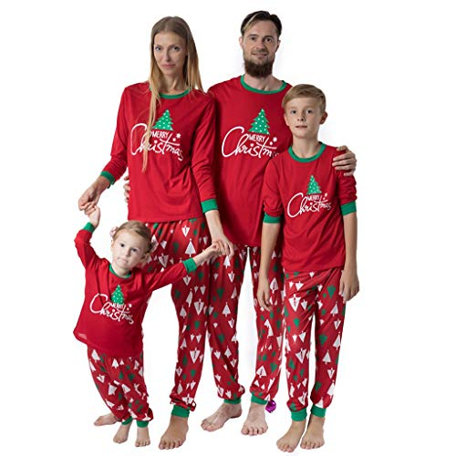 BaZhaHei Pigiama di Natale Famiglia Pigiami Due Pezzi per papà Mamma Bambini,Natale Maniche Lunghe Magliette+Pantaloni da Notte 2pcs Set Biancheria da Notte Albero di Natale