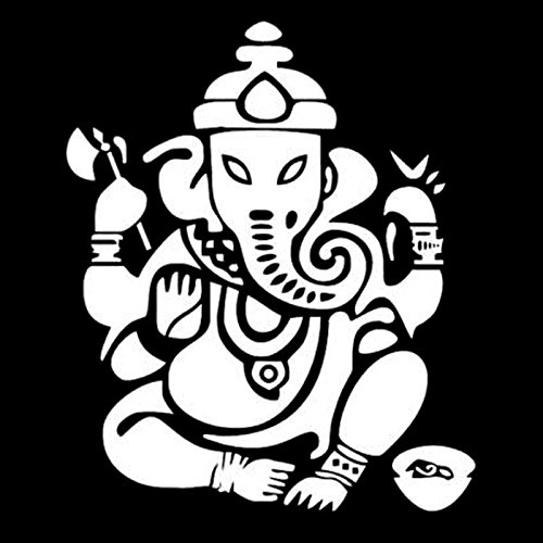 Car Stickers 15cm 13cm Personality car Sticker Elephant Buddha Statue Indian car Decoration Waterproof Sunscreen (Color : White)