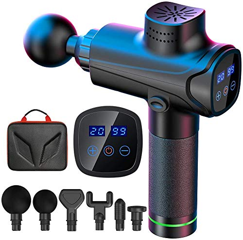 Massage Gun, EKUPUZ Muscle Massage Gun Deep Tissue, Ultra-Quiet 20 Speed Levels, Percussion Massager with 6 Massage Heads and LCD Touch Display, Muscle Massager for Muscle Pain Relief