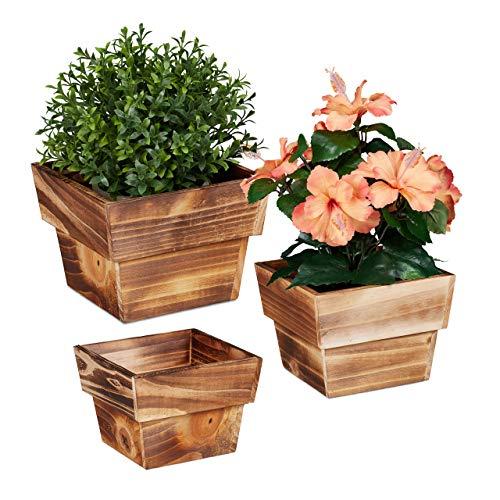 Relaxdays, Natur Blumentopf im 3er Set, geflammtes Holz, für außen & innen, viereckig, Deko für Pflanzen, Pflanzengefäß