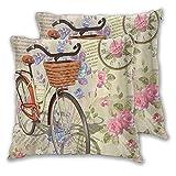 FOURFOOL Funda de Almohada,Cumpleaños Vintage Rosas Aves Y Bicicleta Transporte Retro,Funda de cojín Cuadrada Decorativos para Exterior Sofá Cama Coche,45x45cm