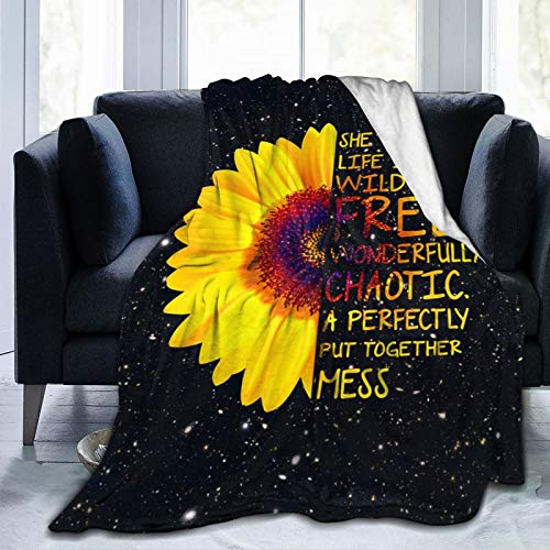 Sunflower Quotes Flannel Blanket,Super Soft Throw Blankets Warm Fuzzy Plush Blanket for Women,Reversible Bed Blanket for Crib Couch Chair Living Room Travel,Sunflower Gifts for Kids Adults 50'X40'