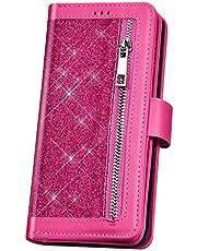 JAWSEU Funda Brillante Compatible con Samsung Galaxy Note 10, Brillo Bling Glitter Billetera Libro PU Cuero Suave Carcasa Soporte Plegable 9 Ranuras Tarjetas Cierre Magnético Cubierta,Roja