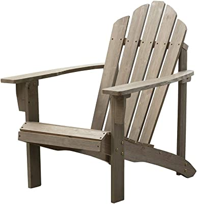 B&Z Wood Adirondack Chair Outdoor Adult Leisure Antique Distressed Grey