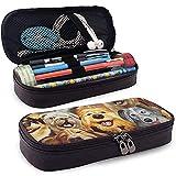 Estuche de lápices para varios perros - Estuche de lápiz de cuero PU de alta capacidad Organizador de papelería Bolsa de maquillaje cosmético