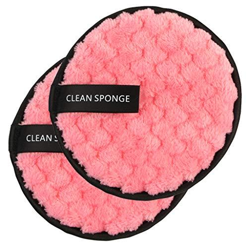 Démaquillage Éponge Flutter, Fulltime 2pc démaquillant serviette chiffon de nettoyage du visage pad en peluche bouffée paresseux double-face microfibre démaquillant puff (rose)