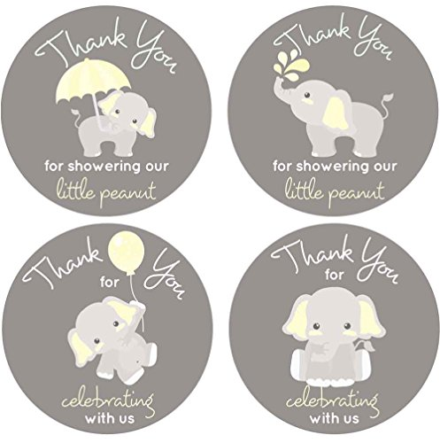 2 Inch Thank You Stickers Baby Shower Favors Gray Elephant Gender Neutral 60 Labels (Yellow)