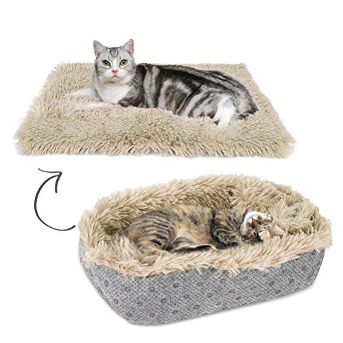 SCENEREAL Plush Self-Warming Cat Mat Furry Pet Bed Convertible - 1 Pack Mat/Bed, Super Soft and Non-Slip Rest Place for Cats and Puppies