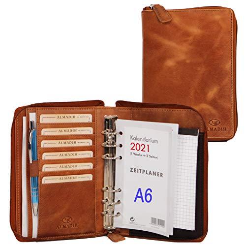 ALMADIH Leder A6 Organizer mit Reißverschluss + Kalender 2021 Notizblock Premium Rindsleder Braun Deluxe in Geschenkbox – Ledermappe Schreibmappe Terminplaner Terminkalender Aktenmappe (A6OBD)