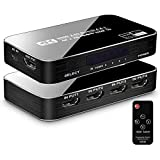 ULBRE HDMI Switch 4 Port 4K 60Hz, HDMI 2.0 Switcher Box 4 in 1 Out with IR Remote, HDMI Selector Switch Hub for TV Box Full 4Kx2K 3D Ultra HD Compatible PS4 Xbox Blue-ray Player Laptop