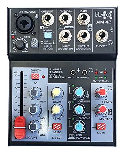 E-Lektron AIM-42 4-Kanal Streaming Audio-Mixer Mischpult inkl. USB Audio-Interface Soundkarte