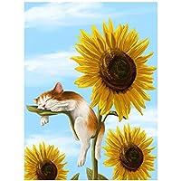 ダイヤモンドペインティング フルドリル ひまわり猫 大人用5D DIYキットダイヤモンドの絵画のためのラインストーン結晶描画ギフトクロスステッチ 刺繍キット モザイクアート ハンドメイド家の壁の装飾Square Drill,30x40cm