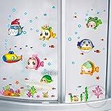 Wandaufkleber Fisch Meer Cartoon für Dusche Fliesen Aufkleber im Badezimmer für Kinder Kinder Baby Bad