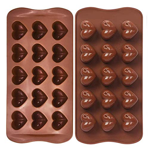 FYY Stampo in silicone 15 cuori,stampo cioccolato,decorazione caramelle per cioccolato cuore di San Valentino,per decorazione torta,gelatina,budino,caramelle,sapone fatto a mano,ghiaccio,2 pezzi