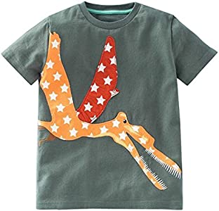 BHYDRY NiñIto Niños Bebé Chico Chica Ropa De La Historieta De Manga Corta Camiseta De Las Tapas De La Blusa(Verde del ejército,120)