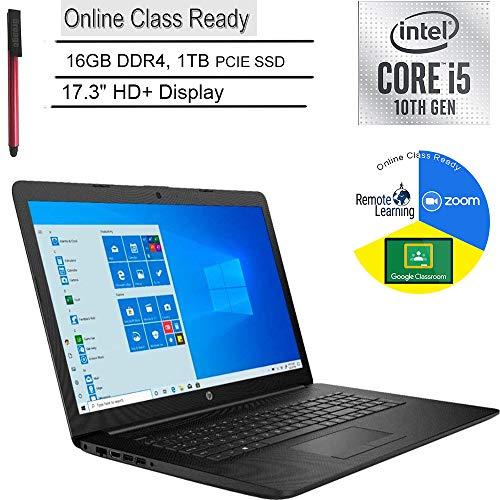 """2020 HP 17 17.3"""" HD+ Laptop Computer_ 10th Gen Intel Quad-Core i5 1035G1 (Beats i7-7500u)_ 16GB DDR4_ 1TB PCIe SSD_ DVDRW_ Online Class Ready_ Webcam_ Microphone_ Windows 10_ BROAGE 64GB Flash Drive"""