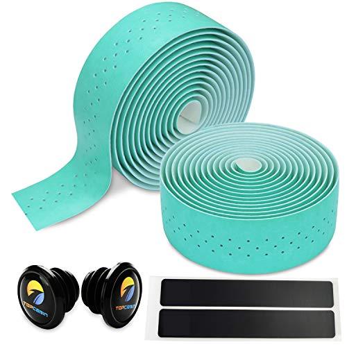 TOPCABIN 自転車バーテープ ロードバイクバーテープ PU/シリコーン エンドプラグ付き 2本セット (ビアンキグリーン-PUレザー)