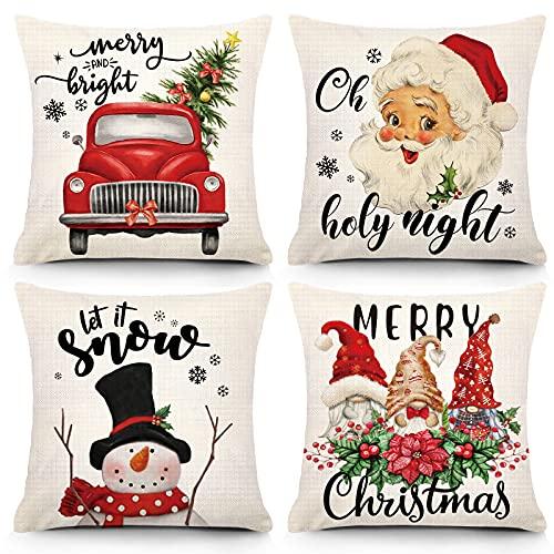 YGEOMER Fundas de almohada navideñas de 45,7 x 45,7 cm, decoración navideña, estilo rústico, para invierno, vacaciones, vintage, funda de cojín de lino para decoración del...
