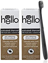 Hello Oral Care Activated Charcoal Whitening Fluoride Toothpaste Twin Pack + BPA-Free Black Toothbrush