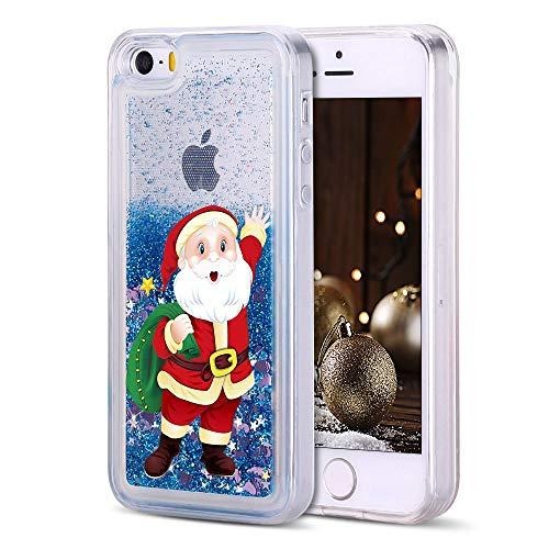 SpiritSun Funda iPhone 5 / 5S Transparente Case Silicona TPU Carcasa Líquido Bumper Tapa Quicksand Cubierta Trasero Suave Protectora Case para iPhone 5 / 5S / SE Navidad Santa Claus - Azul